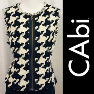 CABI Black & White Houndstooth Vest